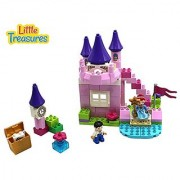 Little Treasures Prince and Princess 80 Piece Building Block Play set Includes Castle Pieces and Treasure Items That Are