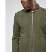 Black Dust Boli Suede Bomber Jacket in Dark Green - Green