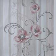 Хартиени тапети дуплекс Алмапласт 'Божури' цвят пепел от роза и сребро