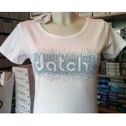 Datch T-shirt donna Datch in cotone con logo in strass a contrasto