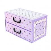 MISS SPACE Pudełko kartonowe 2 szuflady poziome PROWANSALSKIE-FIOLETOWE