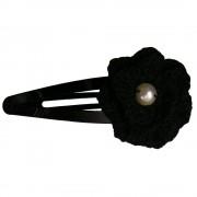 Clama de par, dama, Buticcochet, crosetata manual, Floare Negru, cu Perla Alba