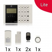 KIT Lite M2C Antifurto Allarme Casa LKM Security Kit Wireless Senza Fili Controllabile da Cellulare con App Gratuita. Menù con Sintesi Vocale in Italiano e Manuale in Italiano