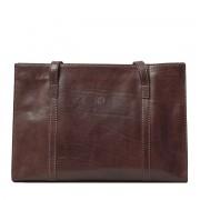 Damen Leder Tote Handtasche in Dunkelbraun - Schultertasche, Umhängetasche, Shopper, Henkeltasche