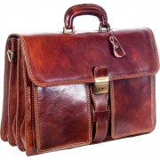 Luciano Fabrini Triple Section Briefcase 449 - Brown