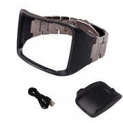 OENFOTO Stainless Steel Metal Replacement Wristband + Charger for Samsung Gear S SM-R750 (Black+Charger)