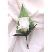 5 x WHITE ROSE BUTTON HOLE