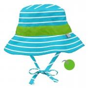 Pălărie reversibilă iPlay SPF 50+ - Aqua Green Stripe, 2T-4T
