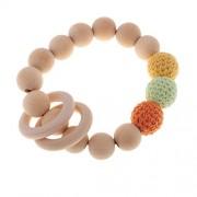Segolike Bright Color Wood Crochet Beads Ring Bangle Teether Toddler Grasping Nursing Toy Safe Organic Infant Baby Bangle - 4