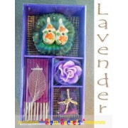 Aromatic Lavender Incense gift Set, Burner Candle sticks Cones