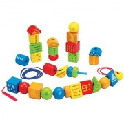Hape - String Along Shapes Wooden Block Lacing Set