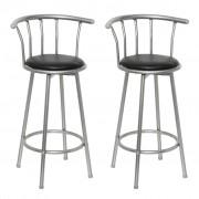 vidaXL Бар стол от кожа и стомана – 2 бр.