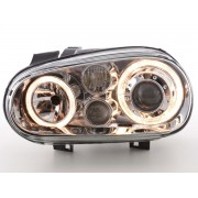 2 Phares avant VW GOLF 4 Angel Eyes - Chrome