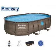 Bestway 488x305x107cm fémvázas ovális medence szett 3m3/h vízforgatóval 56296 FFA 687