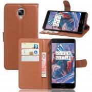 OnePlus 3T, Cartera de cuero Fundas de teléfono Flip Cover con soporte de tarjeta de titular -Marron