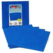 Brick Building Base Plates By SCS - Large 10 x10 Blue Baseplates (4 Pack) - Tight Fit with All Major Brick Sets