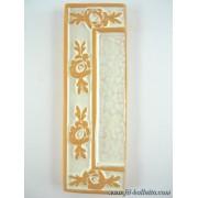 Numero civico ceramica con fiore bianco nfb15