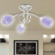 vidaXL Stropní svítidlo, fialová akrylátová křišťálová stínidla, 3 žárovky G9