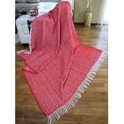 Manta de lana con franja , 80% Lana, 140 X 200cm, modelo Milano , color rojo - blanco
