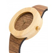 Analog Watch Teak & Bamboo / No Hour Markings Watch T