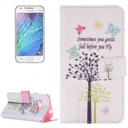 For Samsung Galaxy J1 Ace / J110 Sometimes You Gotta Fall Before You Fly Pattern Horizontal Flip Magnetic Leather Case with Holder and Card Slots & Wallet