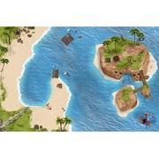 Pirata / Treasure Island / Isla de los Piratas Juego Mat / Juego de alfombras Para el cuarto de los niños - Dimensiones: 150 x 100 cm - Accesorios adecuados para Schleich, Papo, Bullyland, Playmobil, Lego etc.