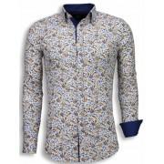 Gentile Bellini Italiaanse Overhemden - Slim Fit Blouse - Autumn Pattern - Wit