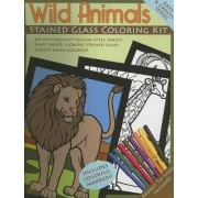 Wild Animals Stained Glass Coloring Kit by Dover