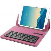 Capa em Pele %26 Teclado Bluetooth Universal para Tablet 9-10.1 - Rosa Choque