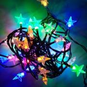 Karácsonyi füzér, csillag alakú beltéri fényfüzér fára, 50 db színes leddel, RGB. Folyamatosan világít! Life Light led