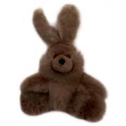 Baby Alpaca Fur Sitting Floppy Eared Bunny Hand Made 9 Inch Mocha