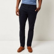 River Island Mens Navy stretch slim fit chino trousers