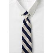ランズエンド LANDS' END メンズ・ワイド・ストライプ・タイ/ネクタイ(エッグシェル/ネイビーストライプ)