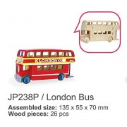Sunnytech®1pc 3D Wooden Jigsaw Puzzle With Painting Tools Child Educational Woodcraft Puzzle Toy DIY Kit (London Bus - JP238P)