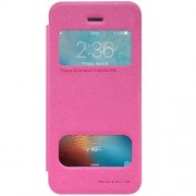 NILLKIN SPARKLE Series For iPhone 5 & 5s & SE Frosted Texture Horizontal Flip Leather Case with Call Display ID (Magenta)