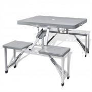 vidaXL Алуминиев сгъваем къмпинг комплект от 1 маса и 4 стола