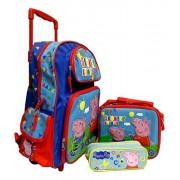 Peppa Pig Large 16' Rolling Backpack, Lunch Box, Pencil Pouch Set