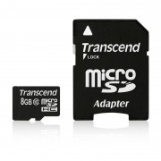 Card Transcend microSDHC 8GB Class 10 cu adaptor SD