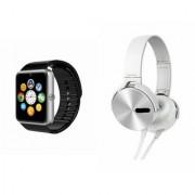 QWERTY GT08 Smart Watch & Extra Extra Bass Headphones for ASUS ZENFONE GO 4.5