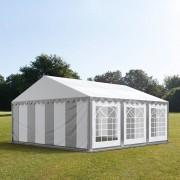 Intent24 5x6m tente de réception, PVC, H. 2m, gris-blanc