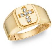 Diamond Cross Ring - 14K Gold