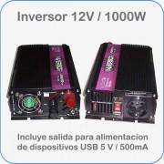 Inversor / convertidor de 12V DC a 220V AC potencia 1000W