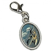 Graphics and More US Airforce F-15 Strike Eagle Antiqued Bracelet Pendant Zipper Pull Oval Charm with Lobster Clasp