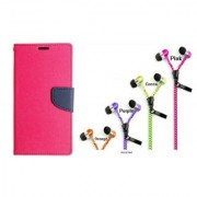 WALLET FLIP CASE COVER FANCY DIARY FLIP CASE COVER For Nokia Lumia 520 PINK WITH ZIPPER EARPHONE