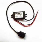 12V USB / 24V a 5V Voltaje de bajada de potencia del adaptador del convertidor - Negro