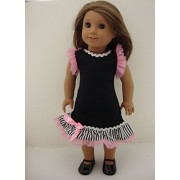 A Cute Black Summer Dress with Pink Tulle and Stripes Made to Fit the 18 Inch Doll Like the American