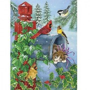 Bits and Pieces - 1000 Piece Glitter Puzzle - A Cozy Nap by Artist Jane Maday - Birds and Kitten - Winter Holiday - 200 pc Jigsaw