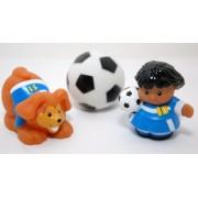 Fisher Price Little People Set Football - Conjunto de figura de niño, perro y pelota