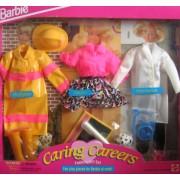 Barbie Caring Careers Fashion Gift Set - Firefighter, Vet & Teacher (1993)
