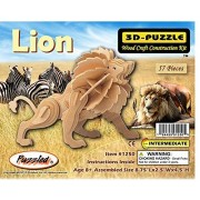 Puzzled Lion Wooden 3D Puzzle Construction Kit by i8899 Puzzles